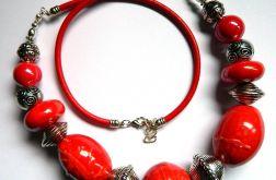 Czerwone korale, porcelana i srebro, duże