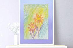 Kwiaty rysunek na fioletowym tle, szkic n25