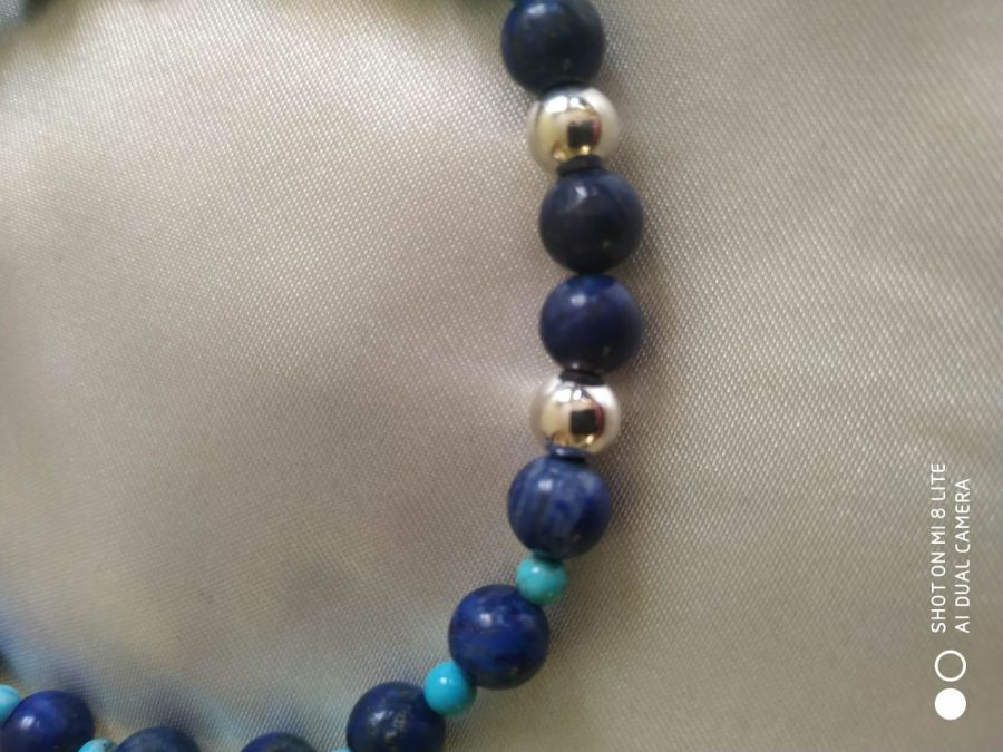 Bransoletka z naturalnego lapis lazuli,srebro - Bransoletka z elementami srebra