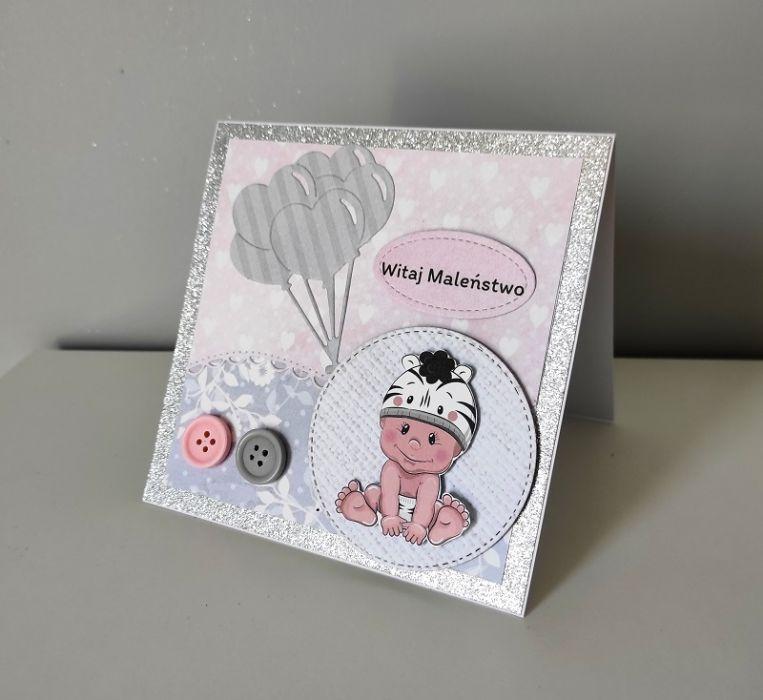 Kartka na Narodziny ręcznie robiona dziewczynka -
