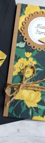 kartka ślubna - navy blue & yellow - slim