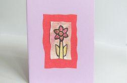 Kartka uniwersalna fioletowa z kwiatkiem 8