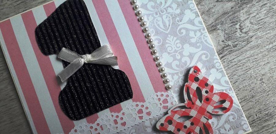Kartka na Roczek urodziny jedynka motylek -