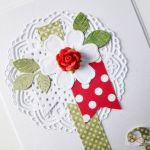 Kartka URODZINOWA czerwono-zielona - Kartka na urodziny z różyczką