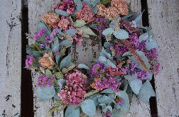 Wianek letni naturalny z eukaliptusa i róż
