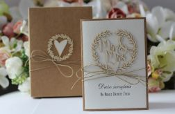 Rustykalna kartka ślubna z pudełkiem 8