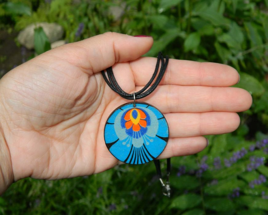 Naszyjnik Folk Etno, niebiesko-pomarańczowy