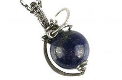 Srebrny wisiorek z lapis lazuli, Srebro, Mały