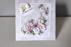 Kartka ślubna na ślub romantyczne kwiaty