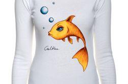 Złota rybka - długi rękaw - biała
