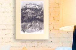 czarno biały rysunek Szkic górski nr 3 graf