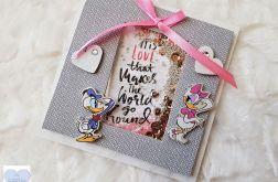 Kartka walentynkowa kaczor donald i daisy