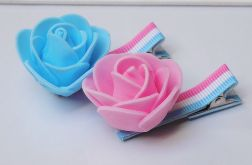 spinki handmade 2 szt. kwiatki róż + nieb.