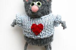 Brelok kot Rysiek w błękitnym sweterku