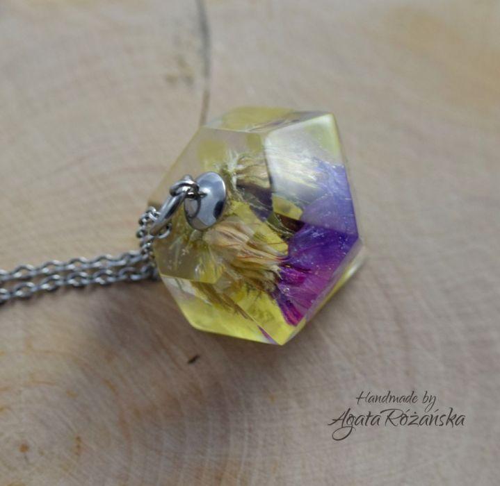 Wisiorek diament z kolorowymi kwiatami - W całości ze stali chirurgicznej