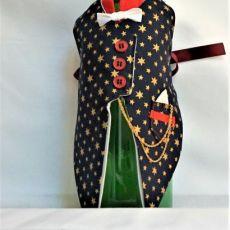 garniturek na butelkę granatowy