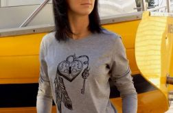 "t-shirt szary RĘKAW ""KŁÓDKA SZCZĘŚCIA"""