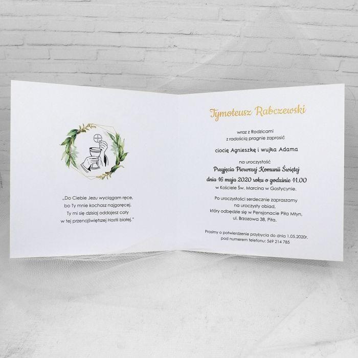 Zaproszenie na komunię dla chłopca ze zdjęciem zielone liście ZKS 006  - Zaproszenie na komunię dla chłopca ze zdjęciem zielone liście (2)