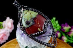 Heliotrop, wisior z kamieniem krwistym miedź