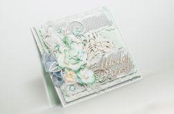 Miętowa miłość - kartka ślubna z parą młodą