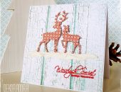 Kartka ze śnieżnymi reniferkami