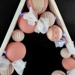Drewniana choinka pudrowy róż Led -