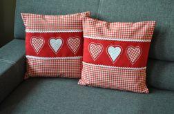 Dwie poszewki - 3 czerwone serca, komplet