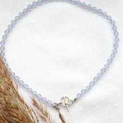Fioletowo-niebieski naszyjnik z piórkiem