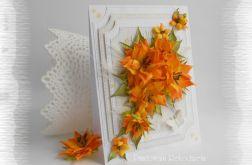 Kartka z kwiatami w kolorach jesieni