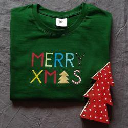 Koszulka ręcznie malowana Merry Xmas unisex