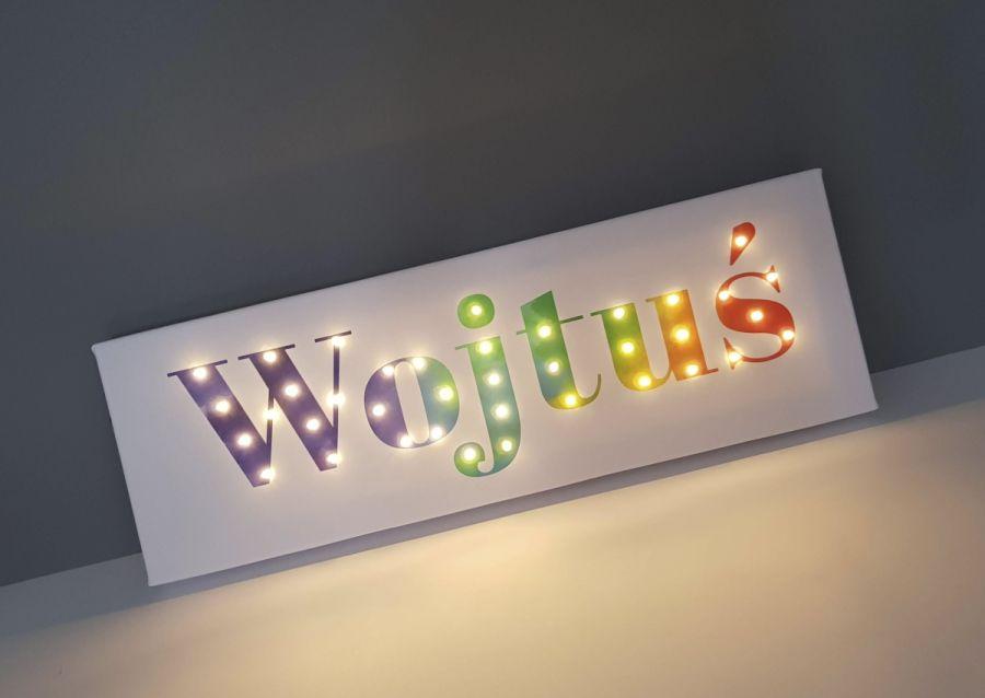Tęczowy obraz LED z imieniem, prezent