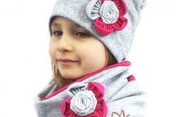 Komin i czapka szaro - różowe