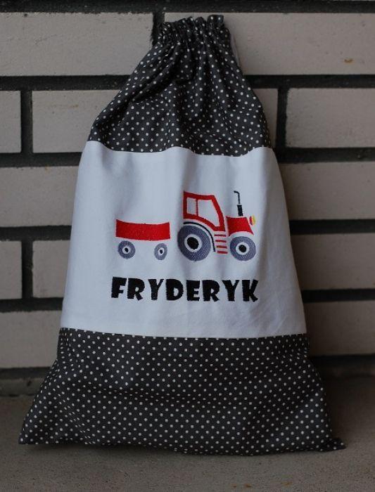 Traktor w szarym - worek na kapcie/zabawki