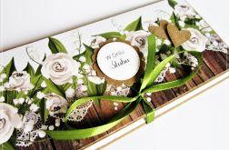 Kartka ślubna kopertówka-zieleń i brąz