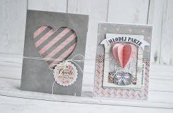 Zestaw kartka ślubna z kopertą w szarości