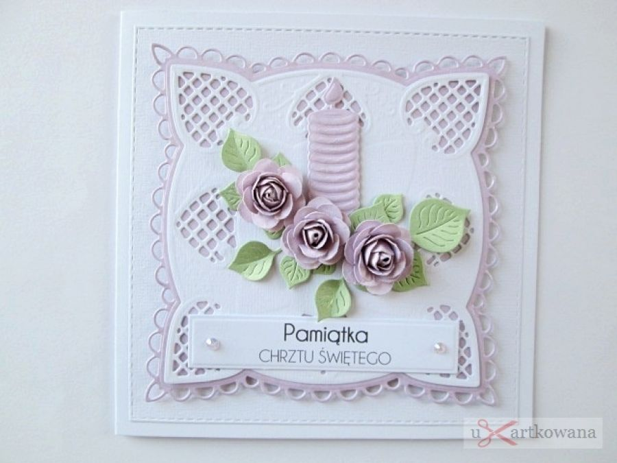 Kartka PAMIĄTKA CHRZTU ze świecą #8 - Biało-różowa kartka na Chrzest ze świecą