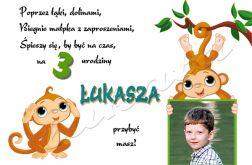Zaproszenie na urodziny dziecka ze zdjęciem na 2,3,4,5,6,7,8,9 itd Małpki dwie