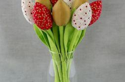 Tulipany, kwiaty z materiału czerwono - złote