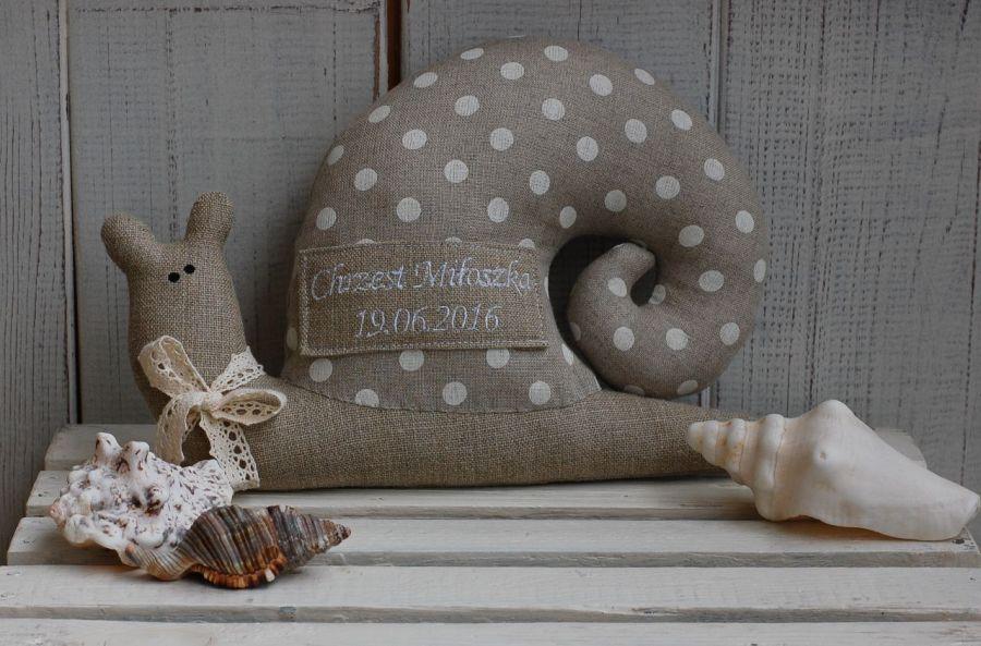 Imienny, lniany ślimak tildowy - zabawka lniana handmade