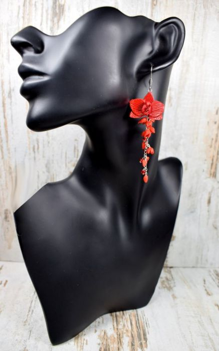 Długie kolczyki kwiaty -czerwone - czerwone kwiaty kolczyki,