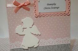 Kartka na Chrzest różowa biały Aniołek