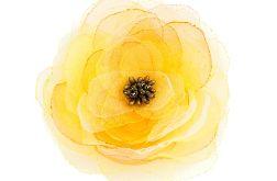 Broszka - przypinka kwiat 9 cm żółta