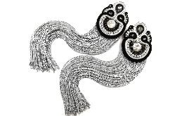 kolczyki sutasz długie czarno srebrne