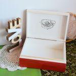 Duże drewniane pudełko - Makowe pole