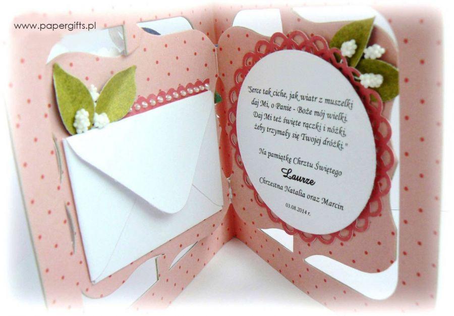 Różowa Pamiątka Chrztu kartka ręcznie robiona - Różowa pamiątka chrztu