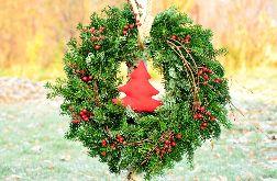 Duży wianek bożonarodzeniowy z naturalnej jodły