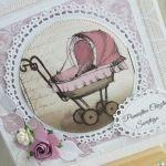 Kartka Vintage na Chrzest z wózeczkiem - null