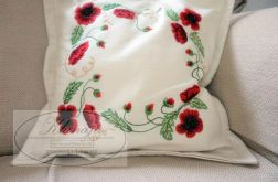 Dekoracyjna haftowana poduszka - maki