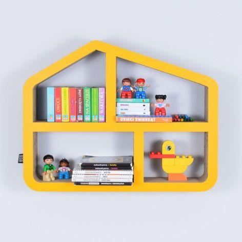 Półka na książki zabawki DOMEK | miodowy