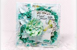Kartka z życzeniami pastelowa zieleń